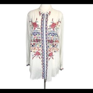 Johnny Was beautiful ivory embroidered boho top L